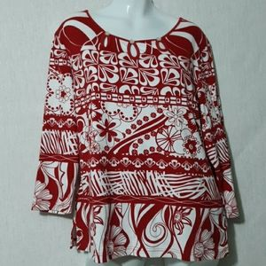 MULTIPLES Women's Red White Top Blouse Size L